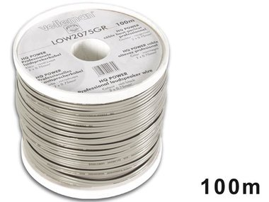 LUIDSPREKERKABEL - GRIJS - ZWARTE BAND - 2 x 0.75mm² - 100m (LOW2075GR)