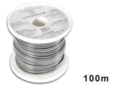 LUIDSPREKERKABEL - GRIJS - ZWARTE BAND - 2 x 0.50mm² - 100m (LOW2050GR)