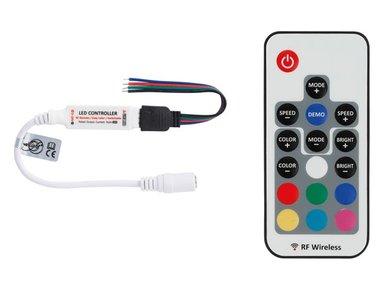 MINI RGB LED-CONTROLLER - 1 KANAAL - MET RF-AFSTANDSBEDIENING (LEDC27)