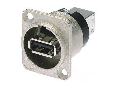 NEUTRIK - OMKEERBARE USB-ADAPTER (TYPE USB A EN USB B) - VERNIKKELDE BEHUIZING TYPE D (NA-USB)