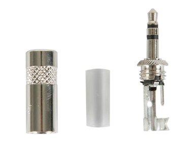 REAN - 3-POLIGE STEKKER 3.5mm, METALEN BEHUIZING MET KABELKLEM (NYS231)