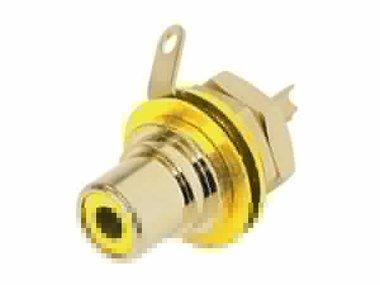 REAN - PHONO CHASSISDEEL (RCA) - VERGULDE CONTACTEN - GEEL (NYS367-4)