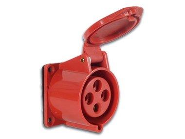 KOPPELING - 380V/32A - 3 POLEN + AARDING - IP44 - CHASSISMONTAGE (PLUGAC06)