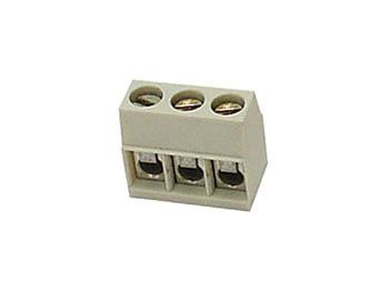 SCHROEFKLEM, 3 POLEN, VIERKANT TYPE, IVOORKLEURIG, PITCH = 5mm (SCREW03/H)