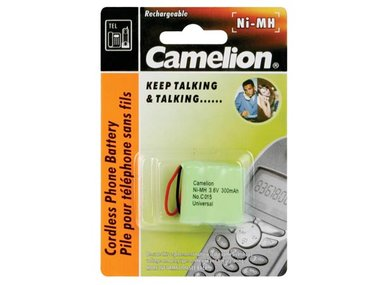 NiMH BATTERIJ VOOR DRAADLOZE TELEFOON 3.6V-300mAh (UNIVERSELE PLUG) (T3004C)