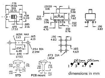 SCHUIFSCHAKELAAR 2P ON-ON - PCB MONTAGE (TS-11P)