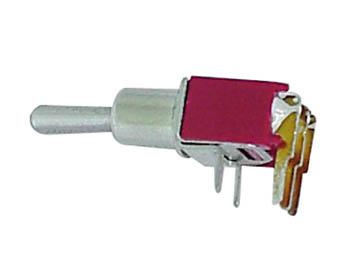 HAAKSE HORIZONTALE SUBMINIATUUR TUIMELSCHAKELAAR SPDT ON-OFF-ON  - GEEN SCHROEFDRAAD (TS-6AE)