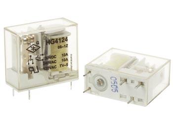 VERTICAAL RELAIS 10A/30VDC-220VAC 1 x WISSEL 6Vdc (VR10V061C)