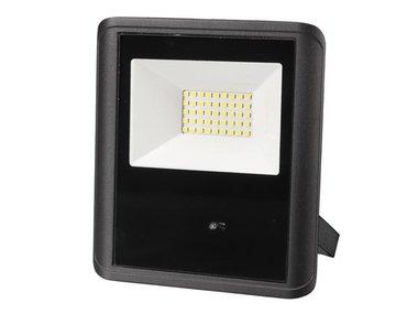LED-SCHIJNWERPER VOOR BUITENSHUIS - 30 W, NEUTRAALWIT - ZWART - MICROGOLFSENSOR (LEDA7003NW-BM)