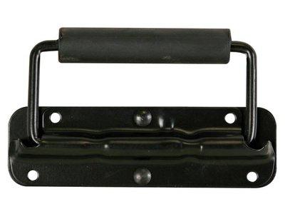 HANDVAT-VOOR-LUIDSPREKER,-MET-VEER,-ZWART-METAAL,-140-x-40mm-(HQAC1009)