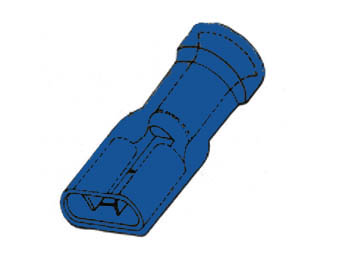 GEÏSOLEERDE VROUWELIJKE CONNECTOR 6.4mm BLAUW (FBMI/100)