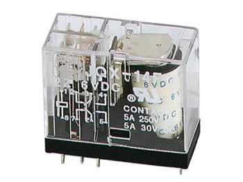 VERTICAAL-RELAIS-5A/30VDC-220VAC-2-x-WISSEL-6Vdc-(VR5V062CN)