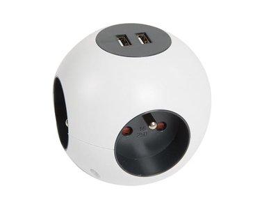 STEKKERBLOK-MET-2-USB-POORTEN---BOL---RANDAARDE-(EBSGUSB-G)
