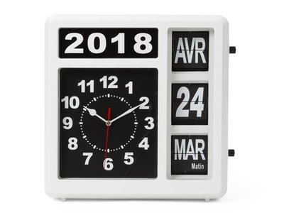 WALL-FLIP-CLOCK-WITH-CALENDAR---31-x-31-cm---FRENCH-VERSION-(WC107)