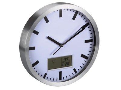 ALUMINIUM-WANDKLOK-MET-LCD-DISPLAY---THERMOMETER,-HYGROMETER-EN-WEERSVOORSPELLING---Ø-25-cm-(WC25)