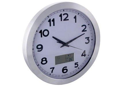 ALUMINIUM-WANDKLOK-MET-LCD-DISPLAY---THERMOMETER,-HYGROMETER-EN-WEERSVOORSPELLING---ALUMINIUM---Ø-35-cm-(WC35)